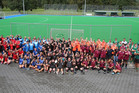 All the teams smile for a picture at the 2017 New Zealand Police National mixed hockey tournament at Smallbone Park. Photo/Supplied