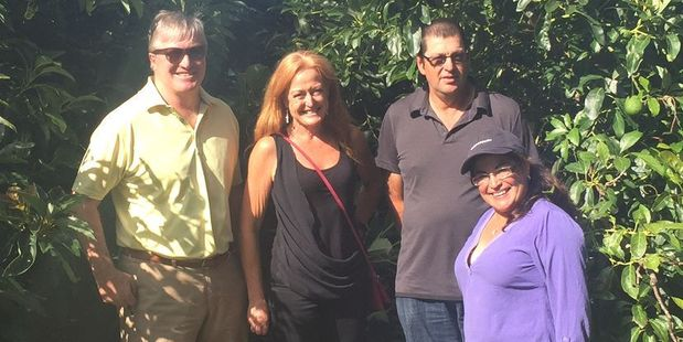 NZ Avocado chairman Ashby Whitehead and Jen Scoular with King Avocado growers, Alistair and Claudia in Northland.