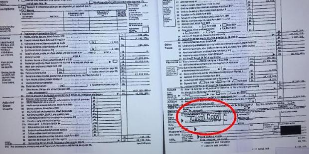 Speculation over who leaked Donald Trump's tax return surrounds the 'Client Copy' stamp. Photo / MSNBC/Screengrab
