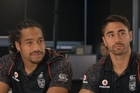 Shaun Johnson and Bunty Afoa pre-game talk.