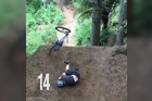Mountain bike rider Cameron Osbourne trying to do a backflip (and crashing 15 times) in preparation for the Crankworx World Tour, happening in Rotorua in a couple of weeks.