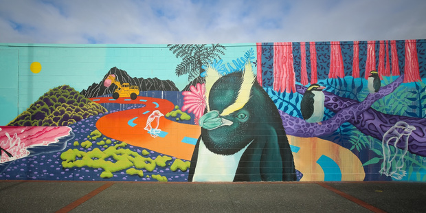 A Celeste Byers sea wall mural, Napier. Photo / Tre Packard