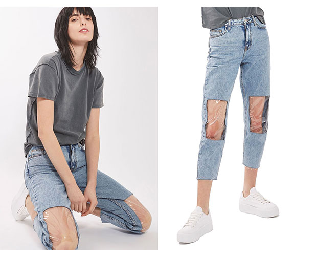 The Nordstrom 'clear knee mom jeans'. Photos / Nordstrom, Topshop