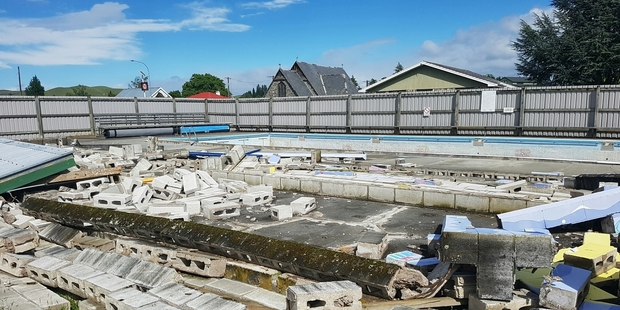 Loading The destroyed Waiau School pool. Photo / Supplied