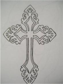 The intruder had a similar tattoo of a cross on his neck. Image / NZ Police