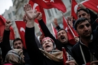 Turkish citizens show their anger outside the Dutch consulate in Istanbul. Photo / AP