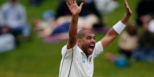 Jeetan Patel appeals for a wicket.