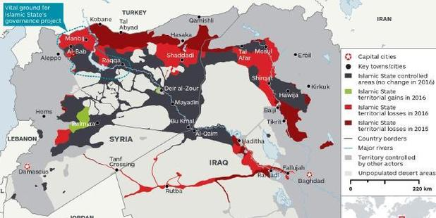 Islamic State territorial losses between January 2015 and December 2016. Photo / IHS Monitor
