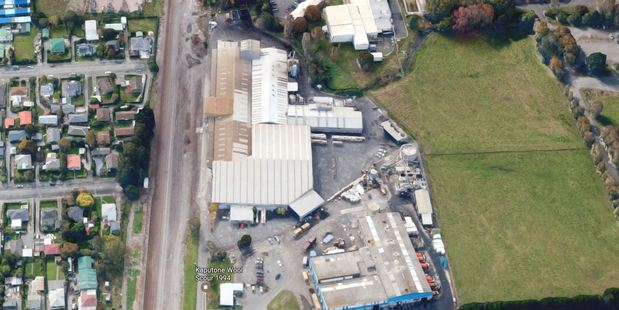 The former Kaputone Wool Scouring factory is for sale - with a valuable water consent attached. Photo / Google Earth