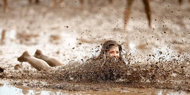 Kelly Wilson enjoying the mud fight on Saturday at Horse of the Year. Photo/ Supplied.