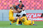 The Kings, shown here playing the Jaguares at a sparsely attended Nelson Mandela Bay Stadium, could be facing the Super Rugby axe. Photo / Photosport