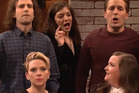 Lorde and Scarlett Johannson are drowned out by a pair of male feminists in an 'SNL' sketch. Photo / SNL