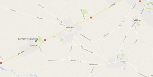The crash happened near Rolleston about 6pm. Photo/Google Maps