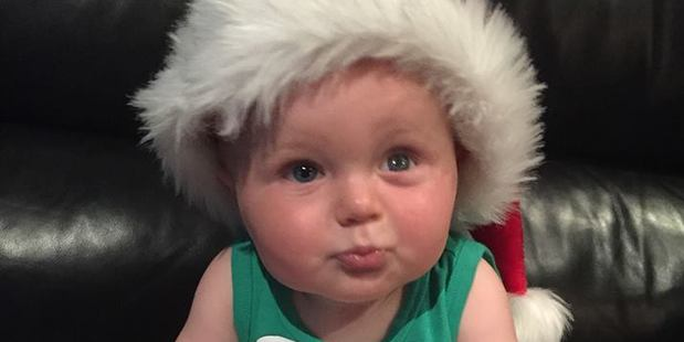 Mason is pictured after getting his new prosthetic eye on Christmas Eve, 2015. Photo / Little Mason's Journey Facebook