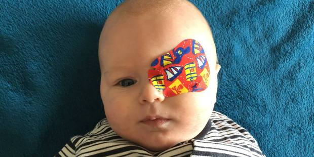 Sarah Bowers said at the time that she broke down in tears when Mason was fitted with the prosthetic. Photo / Little Mason's Journey Facebook