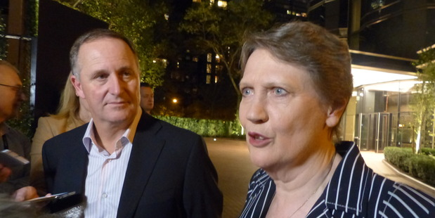 Former Prime Minister John Key and former Prime Minister Helen Clark discussing her bid to lead the UN. Photo Audrey Young