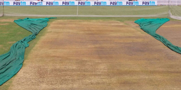 The pitch at Ranchi ahead of the third Test. Photo / Twitter - Ben Horne (@BenHorne8)