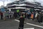 PROTEST: Scores of people protest outside regional council today. PHOTO PAUL TAYLOR