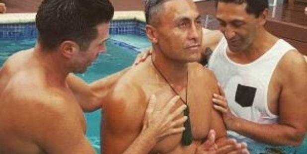 Actor Rene Naufahu is baptised. Photo / Instagram