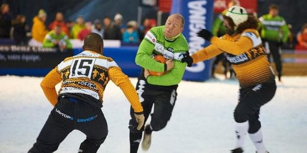 The Valmorel defence closes in on Mike Tindall. Photo / Tournoi Des 6 Stations