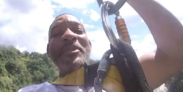 Will Smith doing a bungy jump. Photo / YouTube