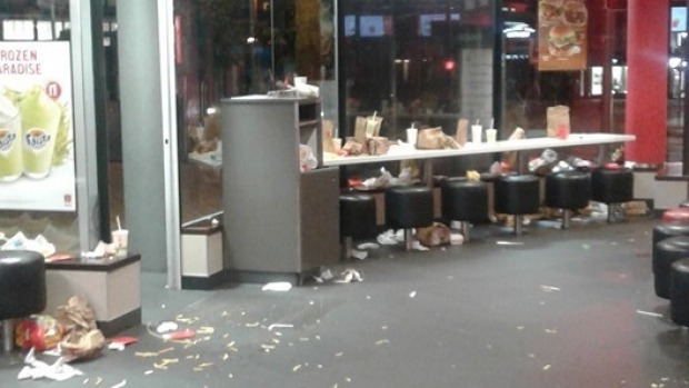 This photo shows the scene at a McDonalds in Wellington on a Friday night in March 2016.