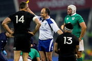 Referee Jaco Peyper shows Malakai Fekitoa. Photo - INPHO/James Crombie