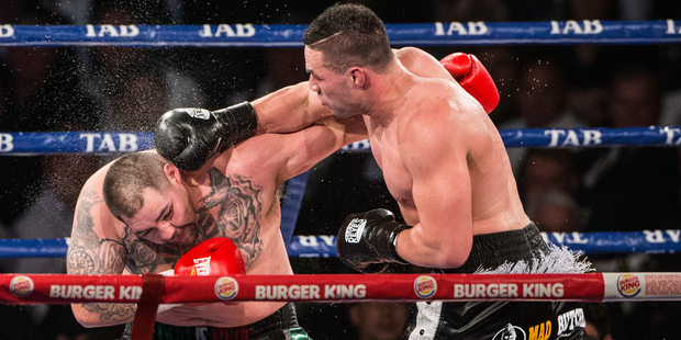 Joseph Parker connects with Andy Ruiz during their world title fight. Photo / photosport.nz