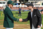 Captains Kane Williamson and Faf du Plessis shake hands. Photo / Photosport