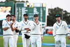 Kane Williamson leads his team from the field after defeat on Day 3 of the 2nd test match between New Zealand Black Caps and South Africa Proteas. Photo / photosport
