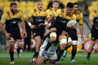 Hurricanes player Ardie Savea avoids a tackle. Photo /  Photosport