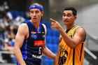 Ali Granger (Nelson Giants) and Houston O`Riley (Taranaki Mountainairs) in week NZ NBL one. Photo / Photosport