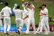 The Black Caps celebrate Matt Henry picking up the early wicket of South Africa's Theunis de Bruyn. Photo/Photosport