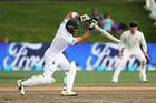 South African captain Faf du Plessis batting against the New Zealand Black Caps at Seddon Park. Photo/Photosport