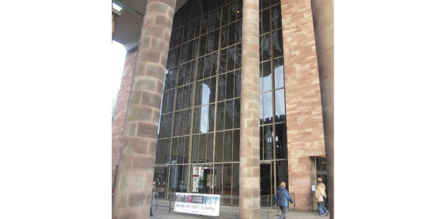 Coventry Cathedral West Screen by John Hutton, engraving on glass, completed in 1962. Courtesy of the Coventry Society, Coventry, United Kingdom