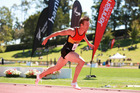 Joseph Millar shows his rivals daylight, as he shatters the national 200m record at the NZ track and field championships in Hamilton. Photo/Alisha Lovrich