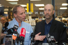 Authors Nicky Hager, left, and Jon Stephenson during the launch of their book, Hit & Run, at Unity Books in Wellington. Photo / Mark Mitchell