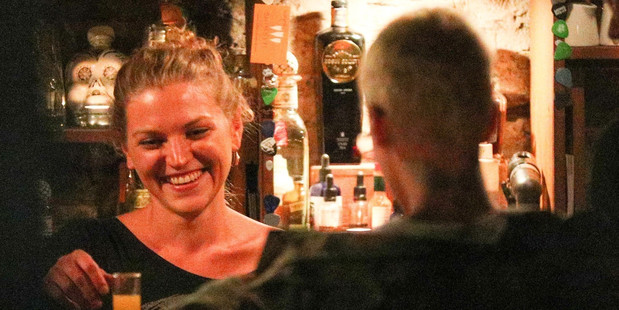 Justin Bieber sits at the bar at The Blue Door in Arrowtown. Photo: AKM-GSI/Backgrid