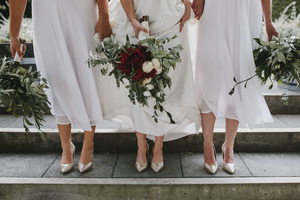 Aimee and her bridesmaids wore the Shine stiletto in gold. Photo/Coralee Stone