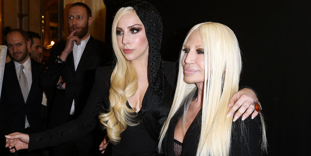 Lady Gaga and Donatella Versace attend a fashion show together in Paris. Photo / Getty