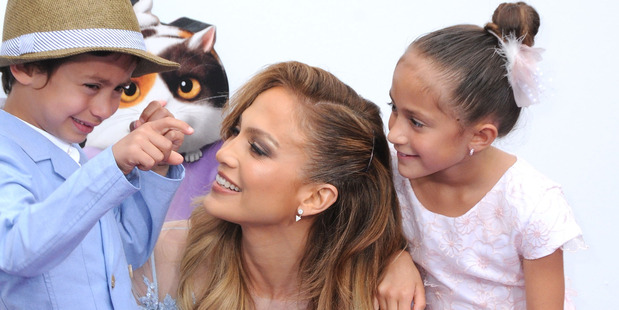 Jennifer Lopez and her son Maximillian and daughter Emme. Photo / Getty