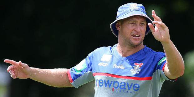 Newcastle Knights coach Nathan Brown during a pre-season training session. Photo/Getty Images