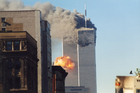 The explosion from the hijacked United Airlines Flight 175 flying into the World Trade Center twin towers. Photo / Getty Images