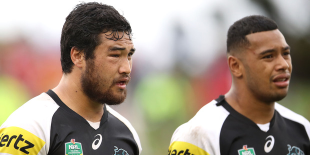 Peta Hiku and Waqa Blake of the Panthers look dejected during the round one NRL match against St George Illawarra Dragons. Photo/Getty Images