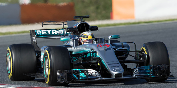 Lewis Hamilton during the Formula One winter testing at Circuit de Catalunya. Photo / Getty Images