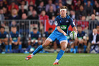 Piers Francis of the Blues looks to pass the ball during the round four Super Rugby match between the Crusaders and the Blues. Photosport