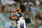 Henry Speight of the Brumbies celebrates scoring a try against the Waratahs at Allianz Stadium in Sydney last night. Photo / Getty Images.