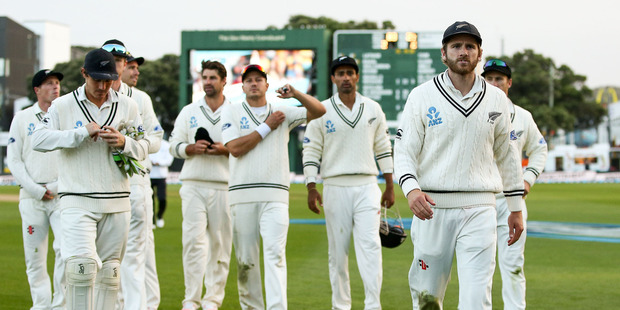 Kane Williamson leads his team off the field after the loss during day three of the test match between the Black Caps and South Africa at Basin Reserve in Wellington. Photo / Getty Images.