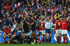 Referee Wayne Barnes awards the winning try. Photo / Getty