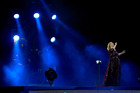Adele performs at Mt Smart Stadium after arriving on stage in a box. Or did she? Photo/Getty